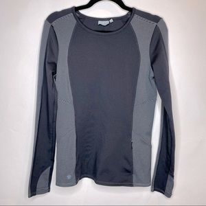 Athleta Black and Charcoal Striped Long Sleeve Top